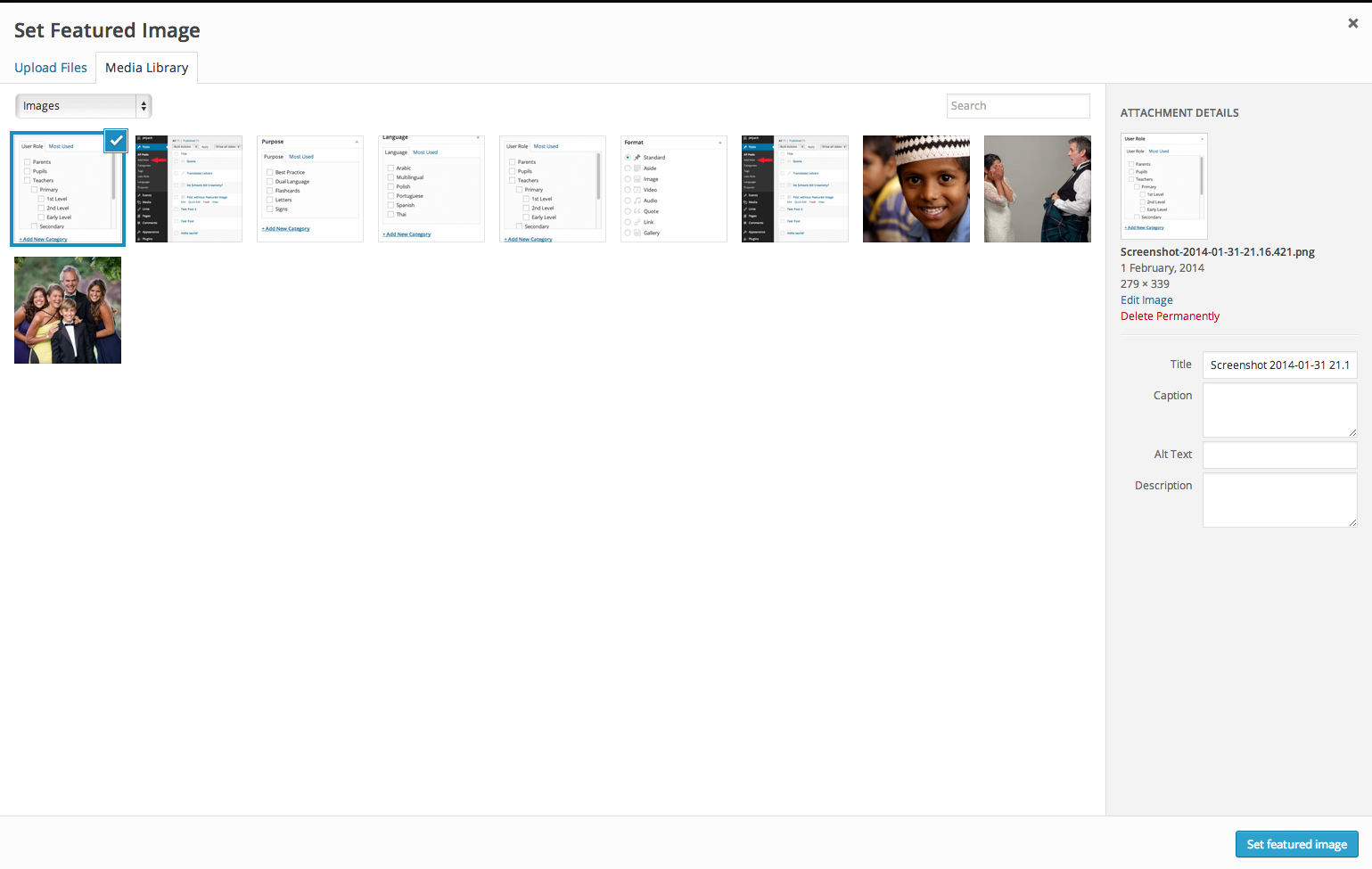 The Featured Image window